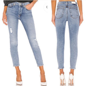 NWT Re/Done High Rise Ankle Crop Stretch Jeans 30